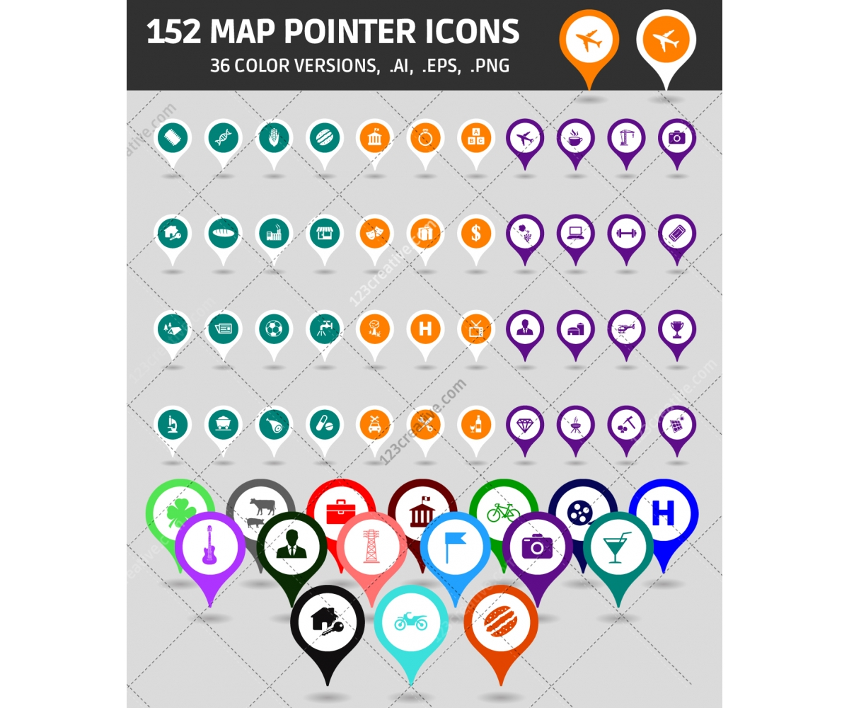 Free Google Maps Pointer Icon: Map Pointers In Various Colors