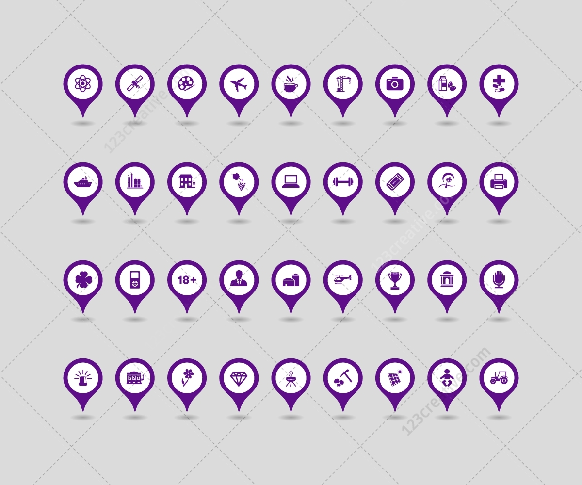 Map Pointers In Various Colors. Map Vector Icons Set