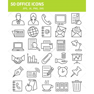 50 Office icons  (EPS, PNG, SVG, AI)