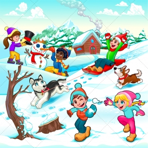 Kids winter illustration and greeting card vector