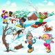 Kids winter illustration, winter childrens vector, winter scene vector