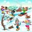 Kids winter illustration, winter childrens vector, winter scene vector