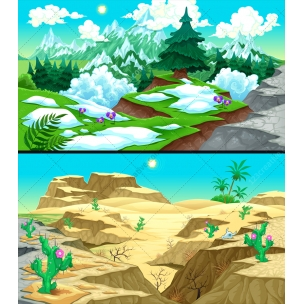 Snowy mountains vector illustration and sunny desert landscape vector