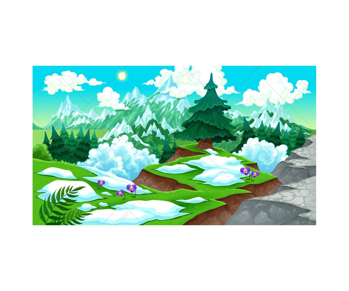Landscape Illustration Vector Free: Snowy Mountains Vector Illustration And Sunny Desert