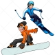 Skier and snowboarder vector - winter sport boy vector