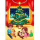Christmas scene vector illustration - cute children and Christmas tree