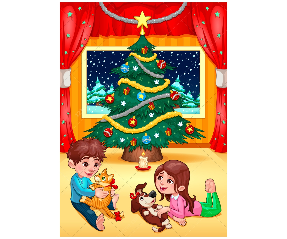 christmas scene vector illustration - cute children and christmas