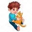 cute boy vector, boy with cat vector