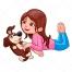 cute girl vector, girl with dog vector