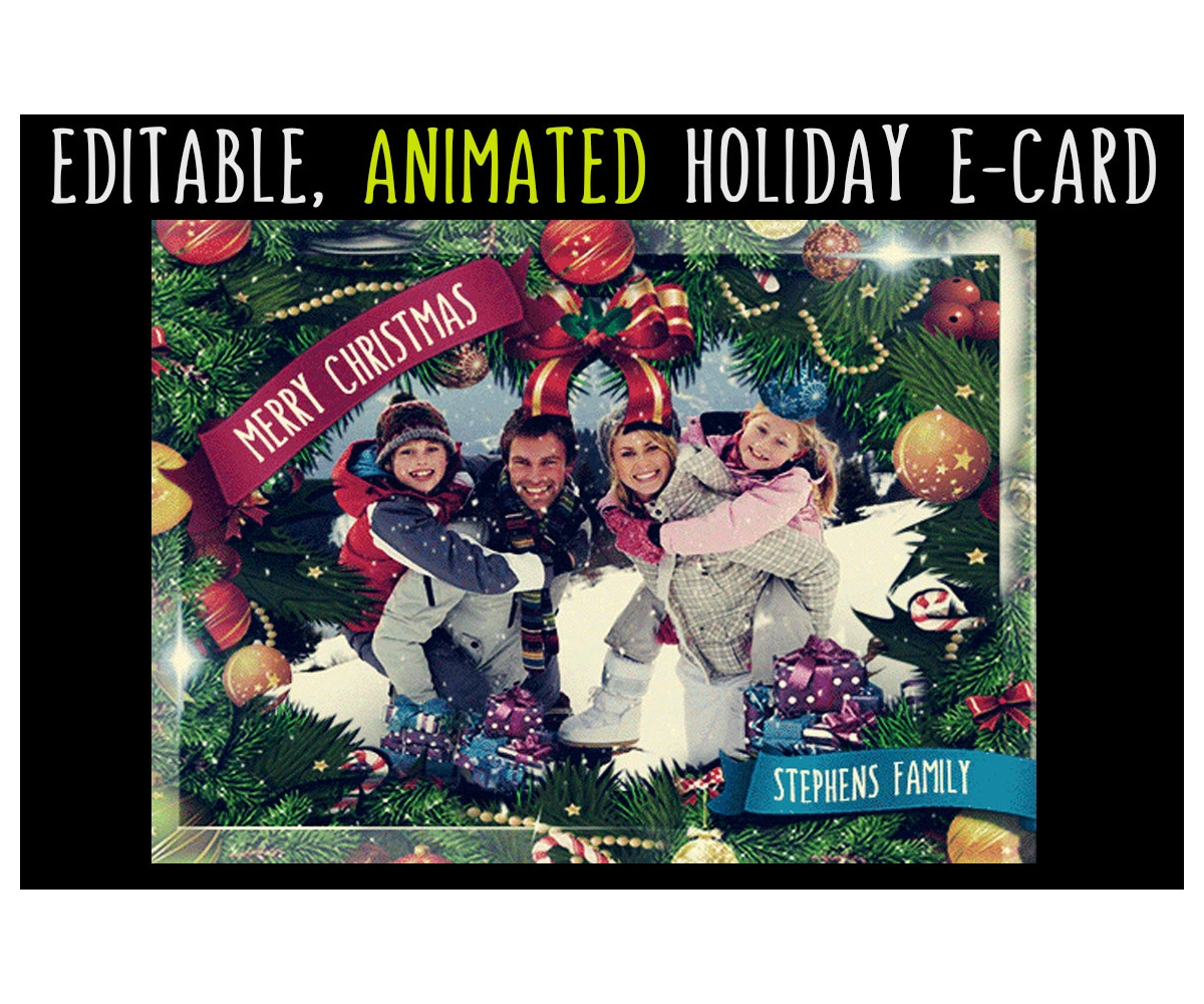 Animated Christmas Card Template Gif Editable Greeting Ecard With