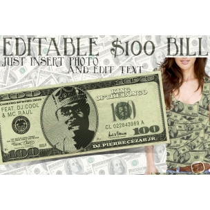 Dollar Bill mockup template PSD with editable face photo and text
