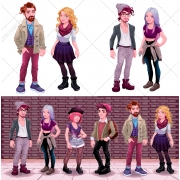hipster character vectors, hipster boy fashion vector
