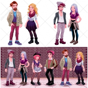 Mega Pack - Hipster character vectors - Hipster boy and girl fashion