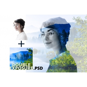 Double exposure - image effect PSD template