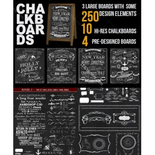 Chalkboard design bundle (PSD templates, design elements, hi-res chalkboard backgrounds)