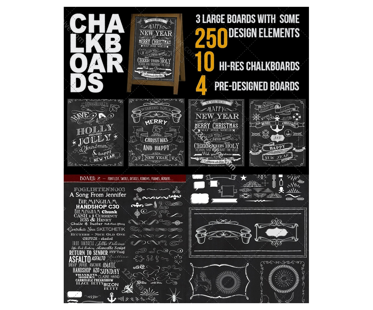 chalkboard design bundle psd templates design elements hi res