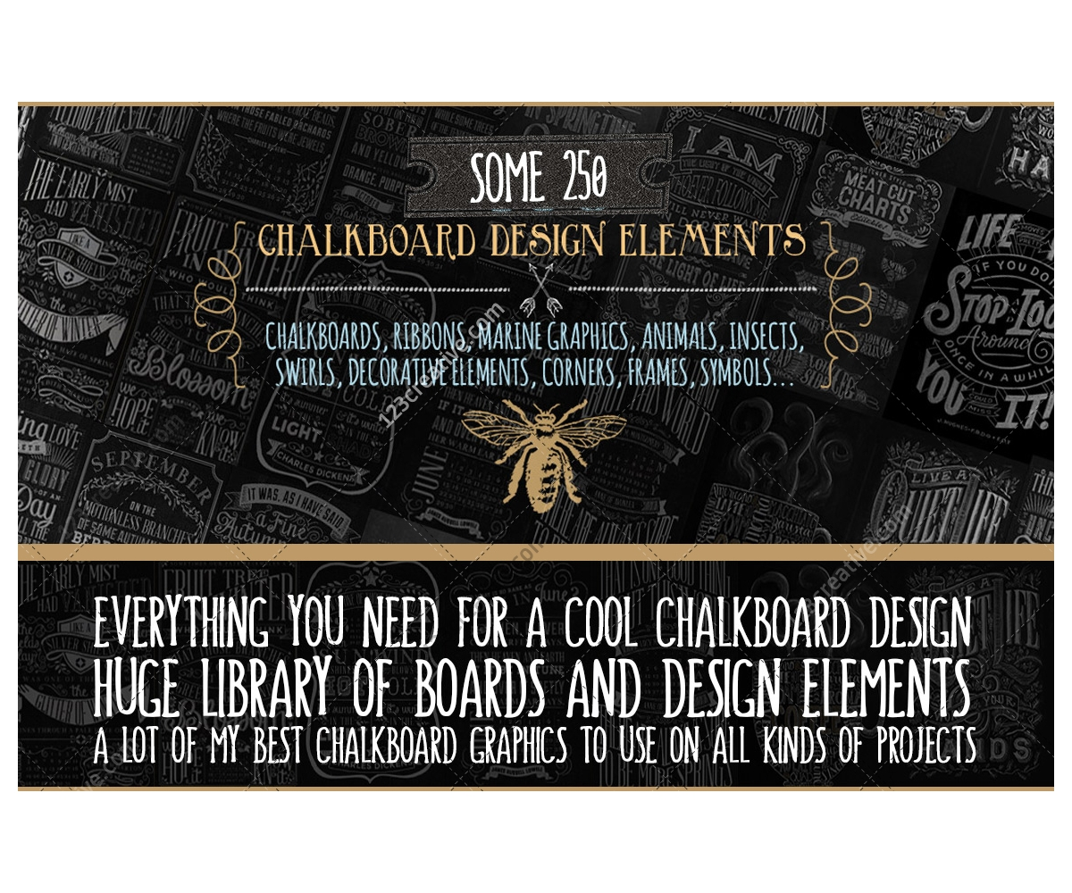 chalkboard design elements corners frames symbols animals insects swirls