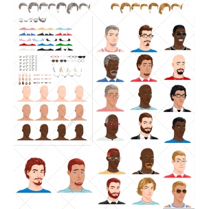 Man avatar vectors - customizable male avatar vector set