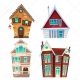 countryhouse vector, mysterious house illustration