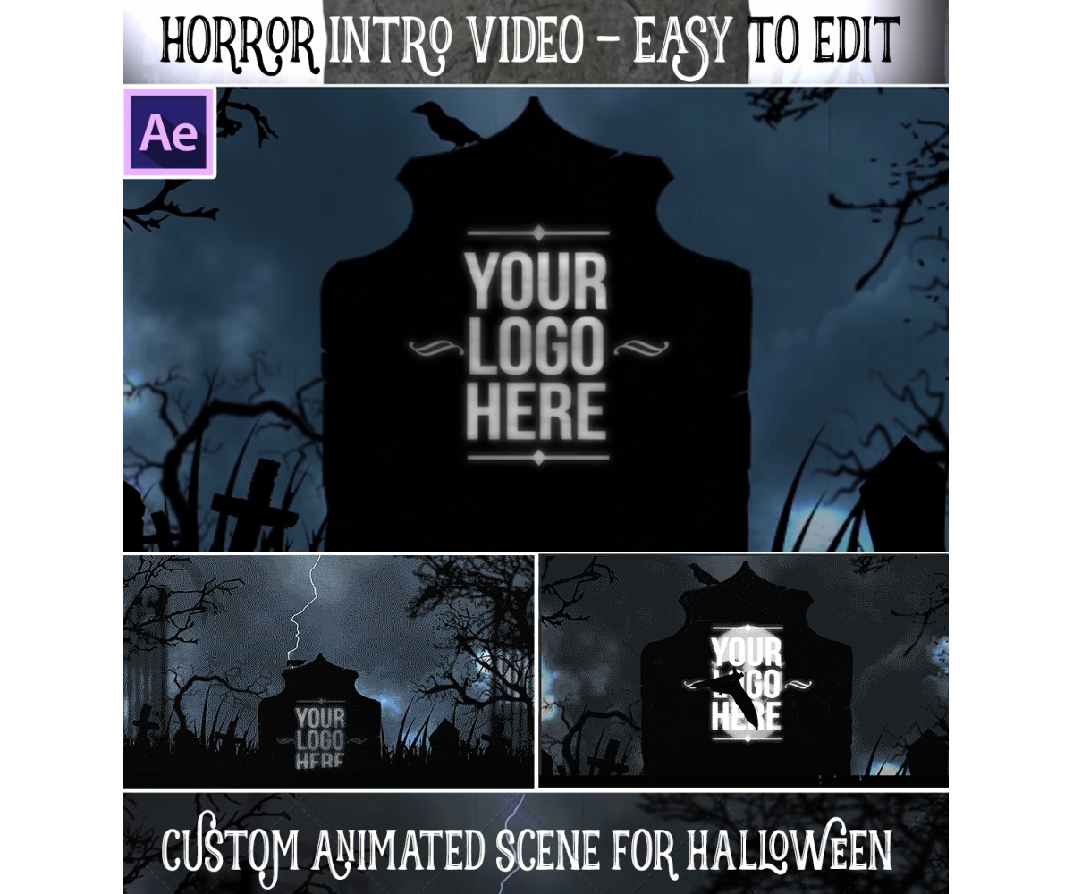 After Effects template - Horror Halloween intro animation, scary