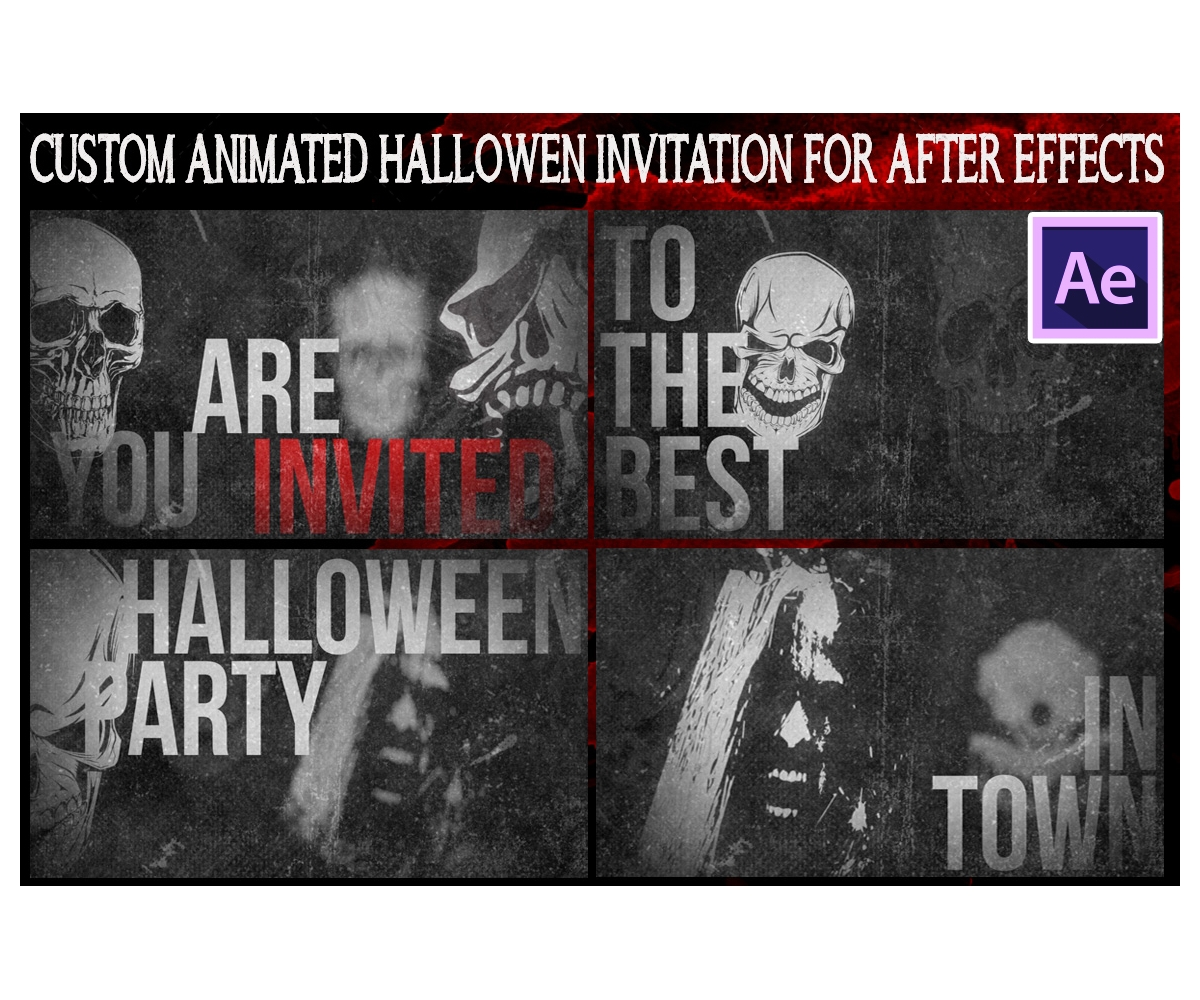 After effects animation halloween party invitation video template stopboris Image collections