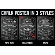 chalk poster template, chalk halloween poster, chalk new year poster template