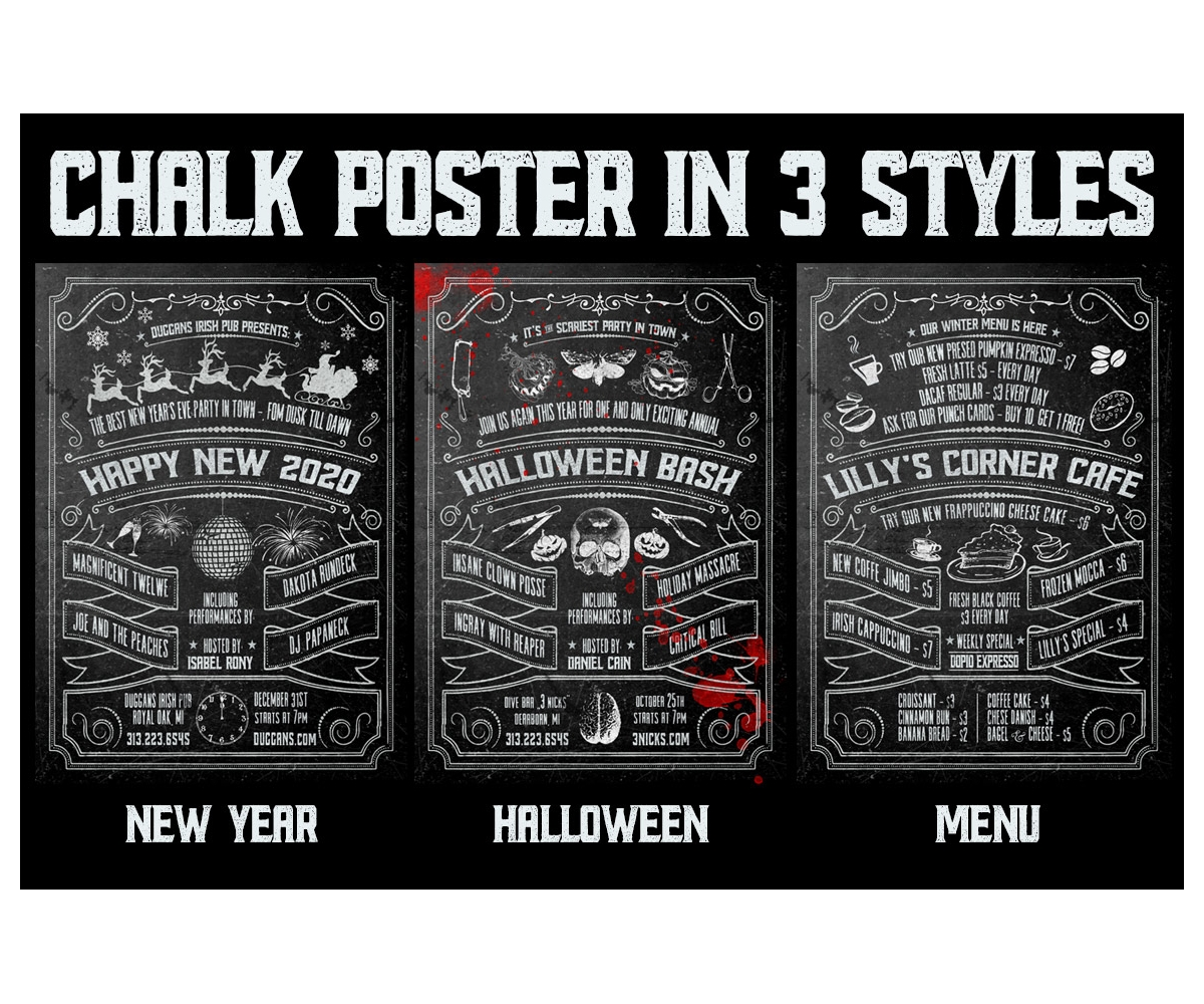 chalk poster template halloween new year menu and cafe chalkboard design psd template. Black Bedroom Furniture Sets. Home Design Ideas