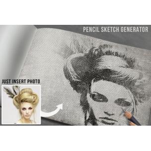 Pencil sketch PSD mockup template generator