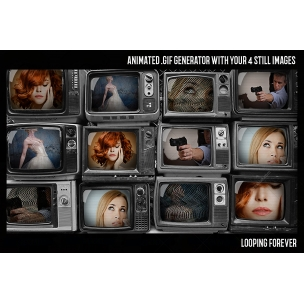 Animated GIF creator in Photoshop - Old TV effect template