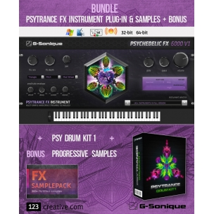 G-Sonique bundle: Psytrance FX instrument plug-in & Sample pack + BONUS Progressive Samples