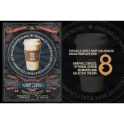 Chalkboard coffee house flyer template PSD with 8 graphic choices