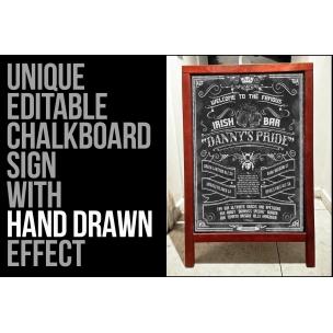 Hand drawn menu template - chalkboard design + Bonus sketch food and drinks