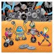 cartoon illustration with robots