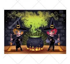 Halloween witches illustration