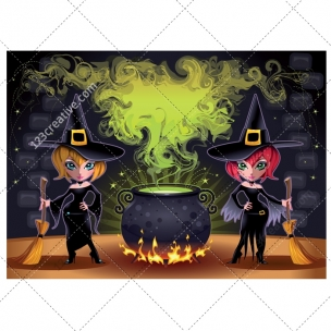Halloween witches illustration