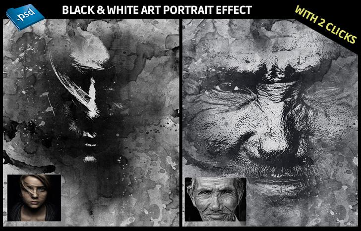 Photoshop Black and White art portrait effect - Black and White Art Portrait Generator in Photoshop