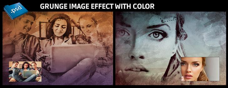 Photoshop Grunge image effect with optional color - Grunge image effect with 6 color options and splashes
