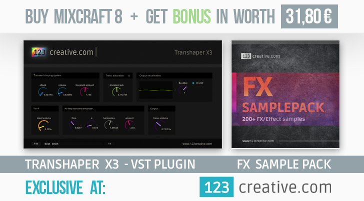 Buy Mixcraft 8 DAW + get bonus Transhaper X3 - VST plug-in and FX sample pack