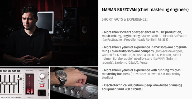 Marian Brezovan, chief mastering engineer of onlinemasteringstudio.eu