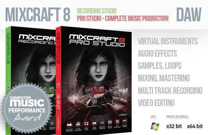 Mixcraft 8 recording studio and Mixcraft 8 pro studio - Complete Music Production